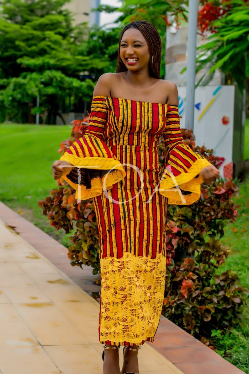 a9f972e2540c5 The Mide Stylish and Classy Off the Shoulder Ankara Dress.