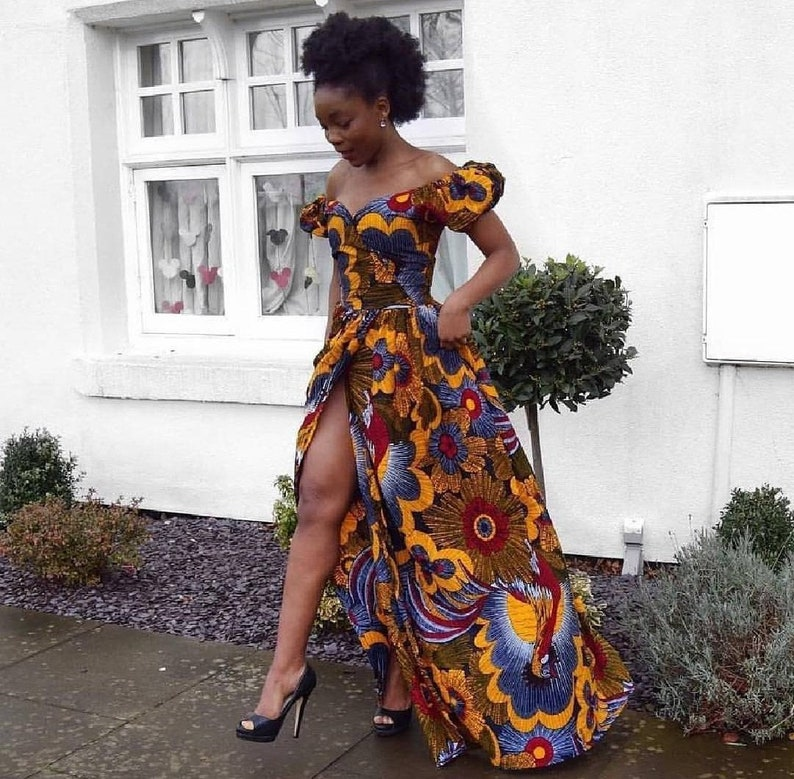 5beed879bf8 Off Shoulder Elegant African Print Dress African Print Dress