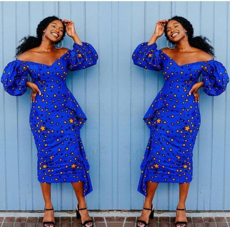 fcdb889cc84896 African Dress Ankara Dress Off Shoulder African Midi Dress | Etsy