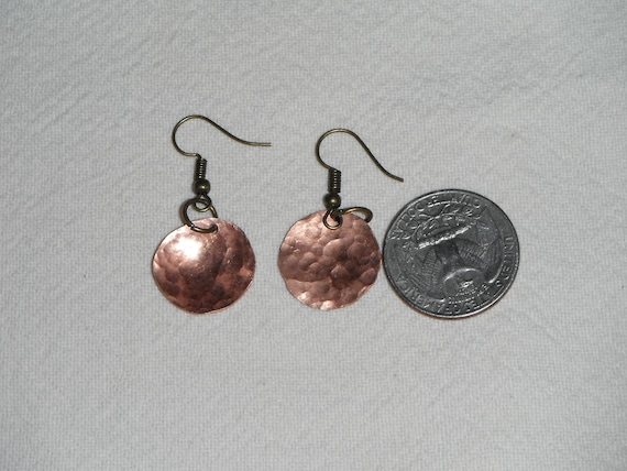 Domed and Textured Copper Earrings
