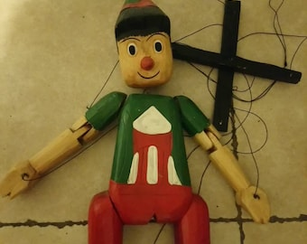 Great old wooden Pinocchio puppet