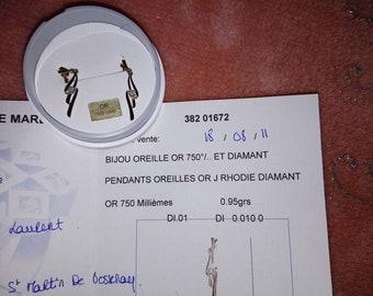 Yellow 18 k gold and diamond earrings