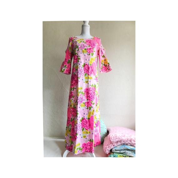 XS /& Small 60s Fuchsia Evening Dress Set Lorrie Deb 1960s Hot Pink Maxi Dress Brides Maid Dress