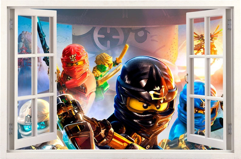 LEGO NINJAGO BREAKING THRU WALL 3D STICKER decal art UK SELLER BOY BEDROOM MURAL