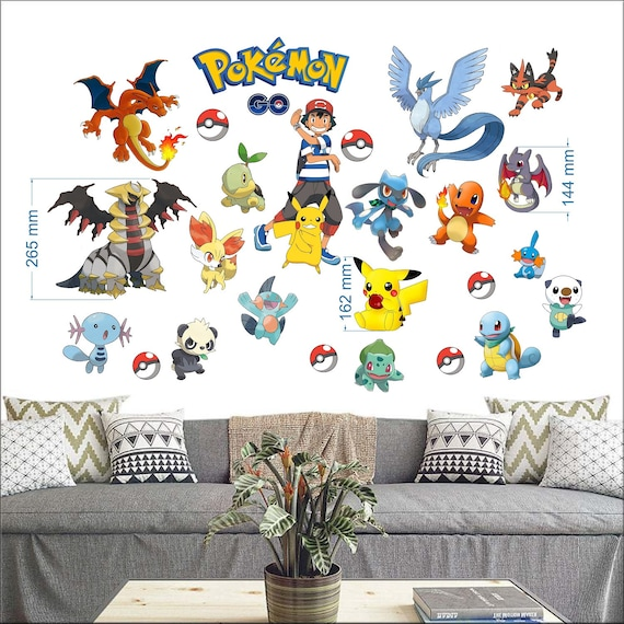 pokemon go wall stickers for bedroom boys and girls wall mural | etsy
