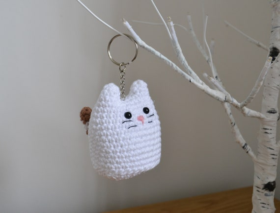 Chubby Cat Keyring or Decoration, Crochet Cat Keychain, Cute Kitty Cat Gift, Kitten Bag Accessory, Cute Cat Decoration