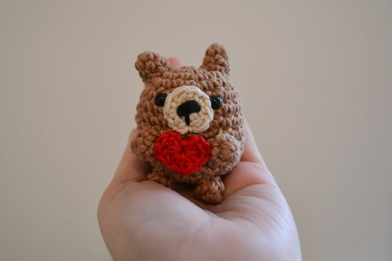 Little Bear With Heart Crochet Decoration, Fully Gift Wrapped with Card, Lockdown Present, Gift for Friend, Miss You Gift, Thank You Gift