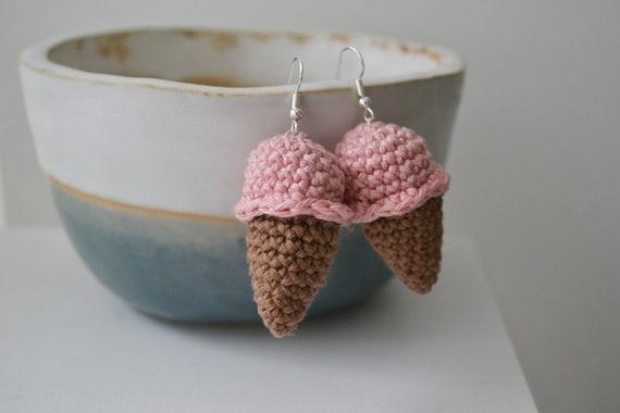 Cute Crochet Ice Cream Earrings, Quirky Statement Drop Earrings, Summer Dangle Earrings, Fun Statement Jewellery, Ice Lolly Earrings