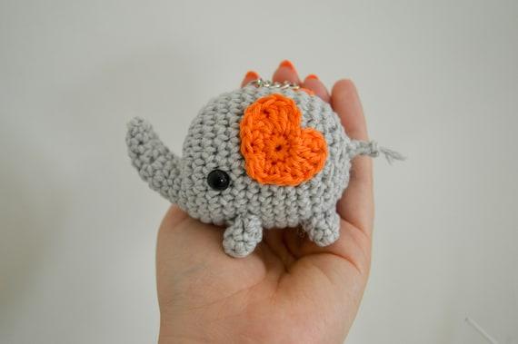 Cute Elephant Keyring or decoration, Safari Animal Crochet Keychain, Animal Amigurumi Accessory, Elephant Home Decoration Gift