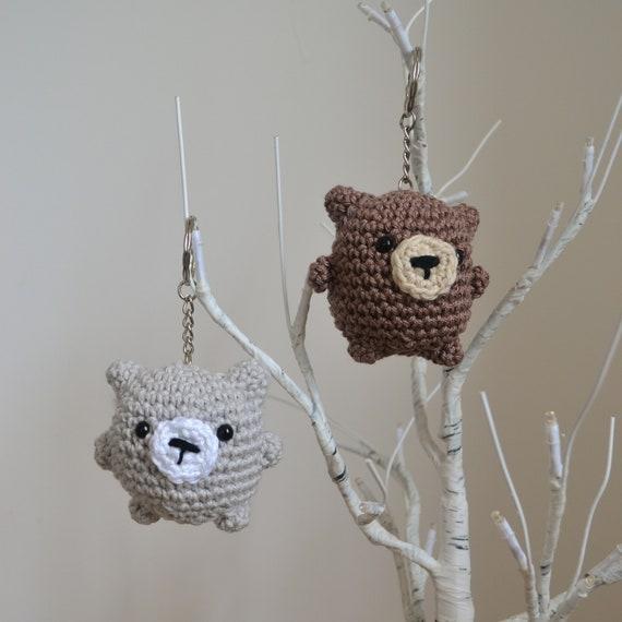 Little Chubby Bear Keyring or Decoration, Cute Crochet Bear Keychain, Crochet Bag Accessory, Available in Grey or Brown, Bear Decoration
