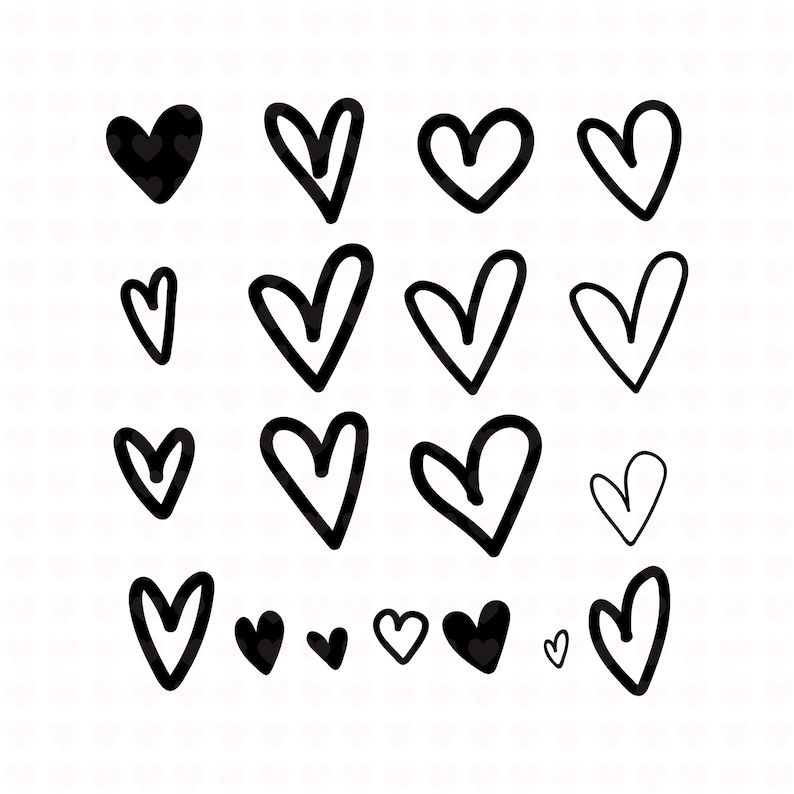 18 Heart Elements Clipart Svg File Png File Cute Hearts Png Etsy