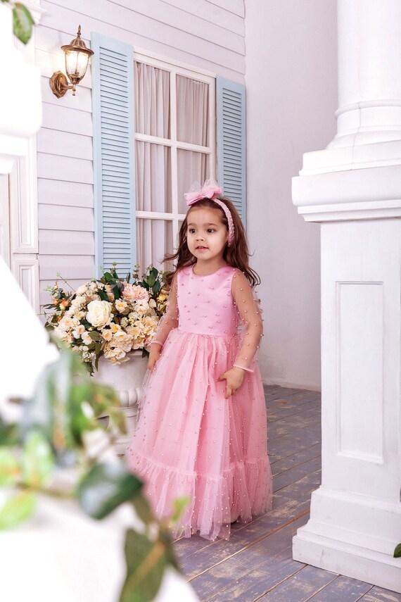 Blush pink flower girl dress flower girl dress flower girl etsy image 0 mightylinksfo