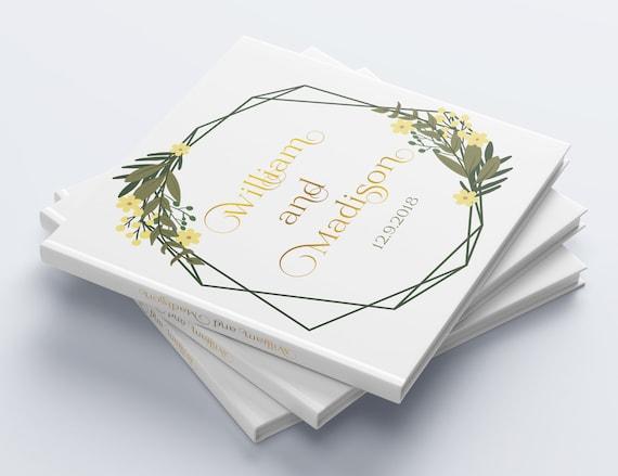 Floral Wedding Guest Book Custom Wedding Guestbook Personalized Wedding Album Rustic Guest Book Unique Wedding Guest Book Floral Ideas