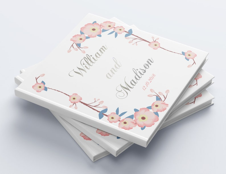 Silver Foil Wedding Guest Book Custom Wedding Guestbook Personalized Wedding Album Rustic Guest Book Unique Wedding Guest Book Foil Ideas