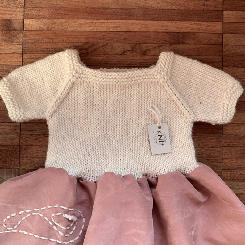 52d26d57d Cashmere hand knitted baby dress for 3 months girl made with