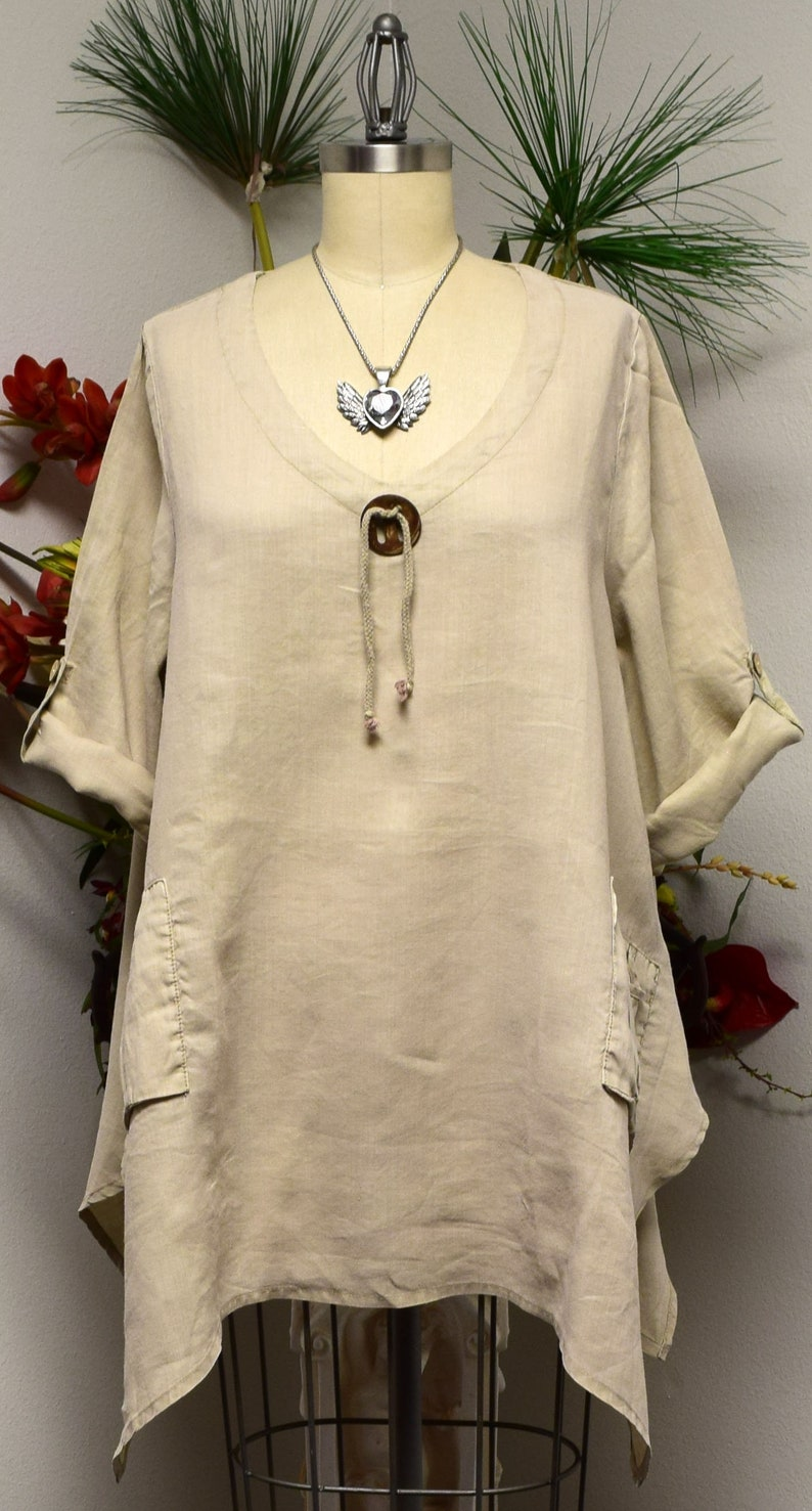 White linen top Linen Top Over sized Linen Tunic designer Lagenlook Tunic top with Front Pockets Summer New Linen Tunic