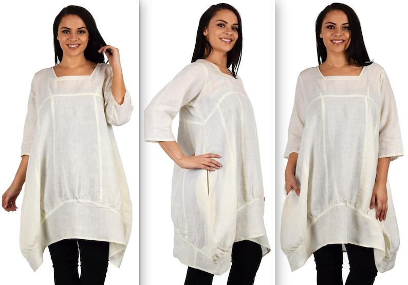 b03ac5e44f1 Linen Balloon Dress 100% linen Dress Lagenlook Linen Tunic
