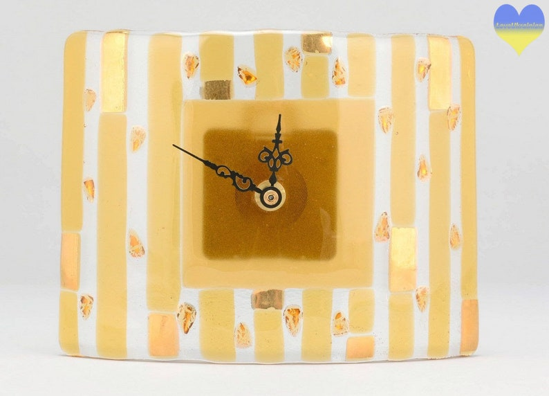 Tableau horloge, horloge de bureau, mariage cadeau horloge, horloge de l'arc en ciel, verre horloge murale, horloge murale en verre, coloré horloge, horloge contemporaine