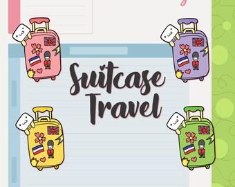 Suitcase Travel   Planner Stickers   Hand drawn   BB096