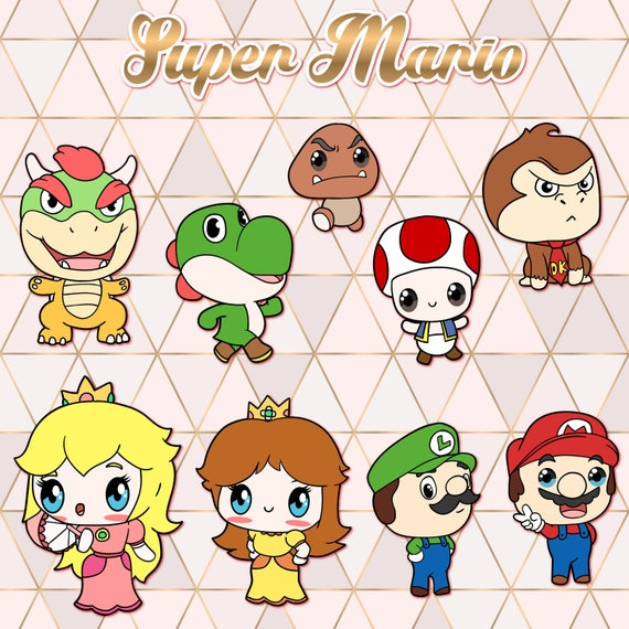 Super Mario Clipart Kawaii Design Download Cute Super Etsy