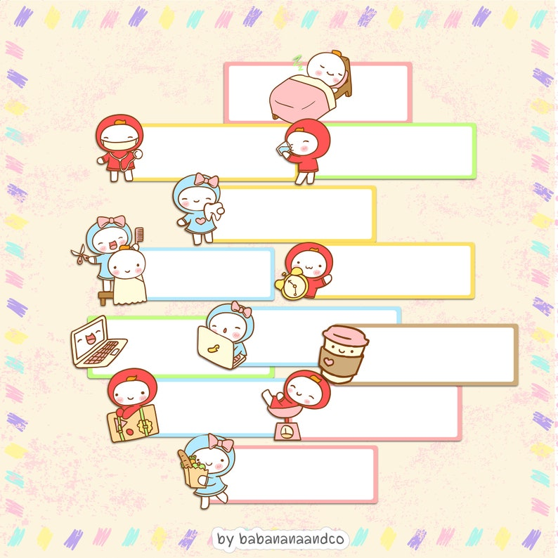 Kawaii Planner Stickers - Label Sticker - Cute Label Clipart -Cute Planner  Stickers Cute Clipart-High Quality Vectors-Instant Download