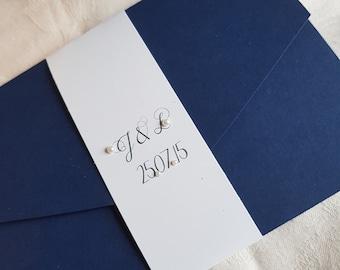 Luxury, Elegant, Handmade, Personalised Pocketfold Wedding Invitations Set with Bellyband