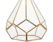 Geometric Triangle Metal Glass Terrarium - Gold