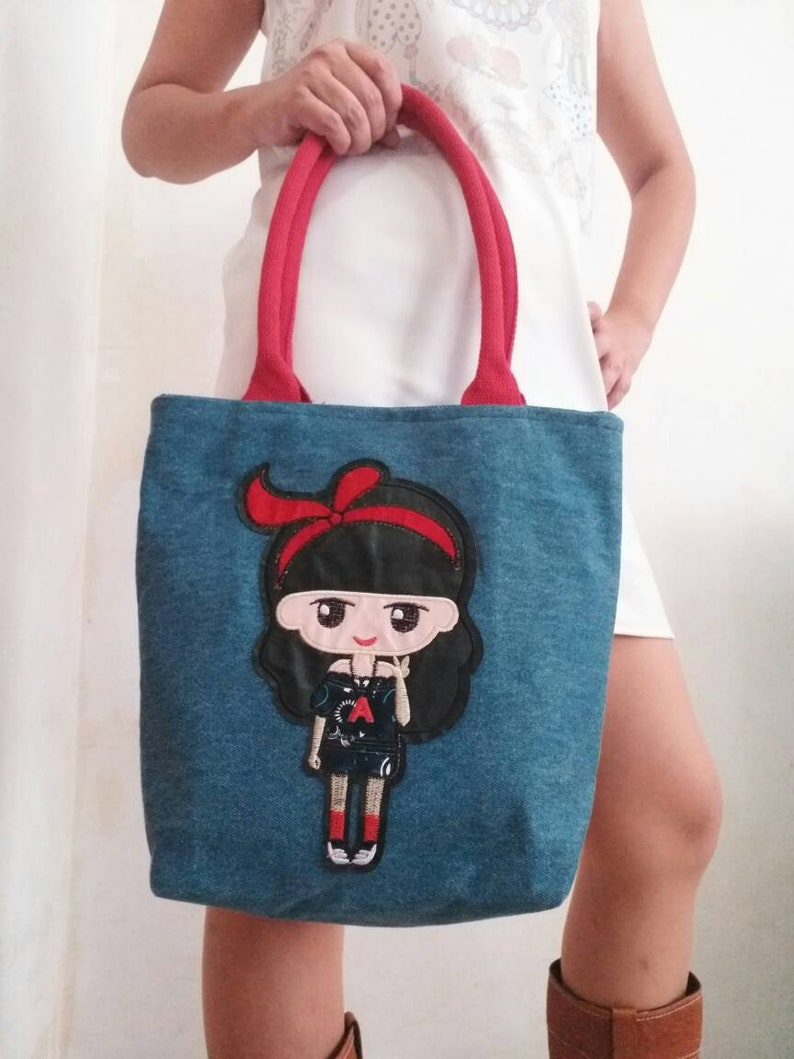 61be058ea5 Cartoon Girl Shoulder Bag Doll Bag Girl Bag Denim Bag