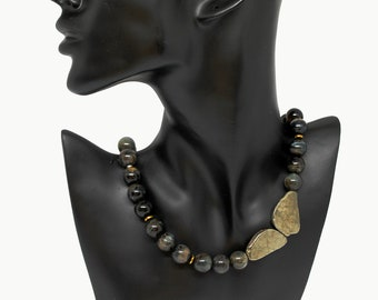 Butterfly ⦁ full gemstones necklace ⦁  PYRITE - TIGER'S Eye - HEMATITE