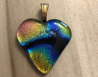 Dichroic Fused Glass Heart