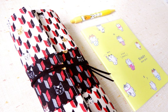 Fabric pencil case, Japanese cat fabric pen holder, cool artist organizer