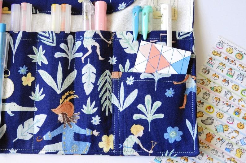 fountain pen roll Peter Pan fabric pencil case Fairy Tale  pen roll-Navy Roll up pencil case
