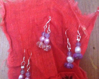 Precious Stone and Fresh Water Pearl Earrings (SS)