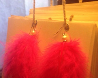 Hot Pink Feather Earrings with fresh water pearls