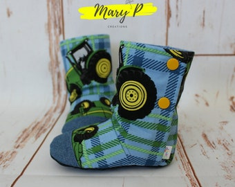 "Baby shoes, slippers, soft ""Tractors"" kids boots"