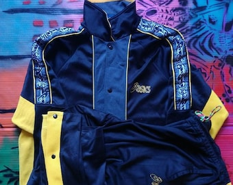 49ffeb7d5bfa 90s Vintage Asics mens Tracksuit Set Spell out Embroidery Sweatshirt    Sweatpants Set jacket Sweater Pants M champion tommy rl adidas puma