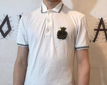 cff919189 Gucci Vintage Men's White Black Polo T-shirt 90s 80s Retro Small Logo  Designer tshirt Size S Short sleeve streetwear