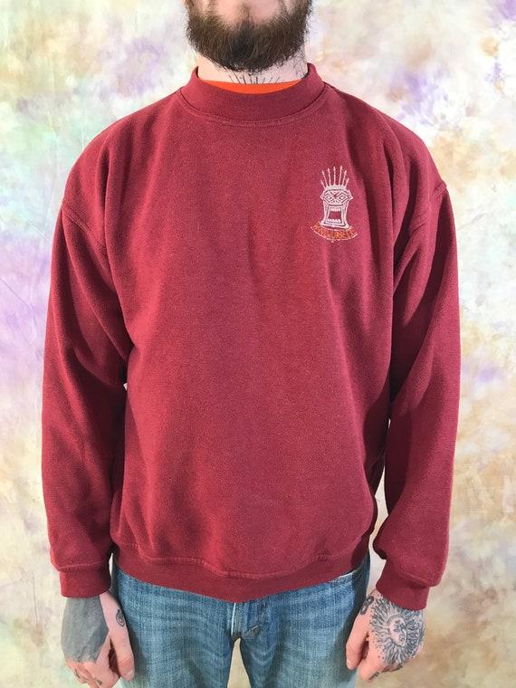 Sky Blue Vintage Mens Red Big Logo Sweatshirt 90s 80s Retro Casual Sweater Size M StreetWear Longsleeve Pullover