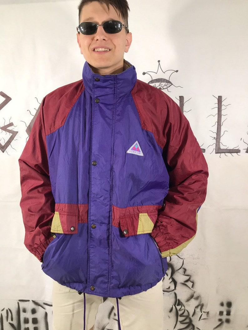 6876cd0da Vintage Multicolor Full Zip Windbreaker 90s 80s Retro Blue Red Yellow Small  logo Rave jacket Track jacket Track Top Size L