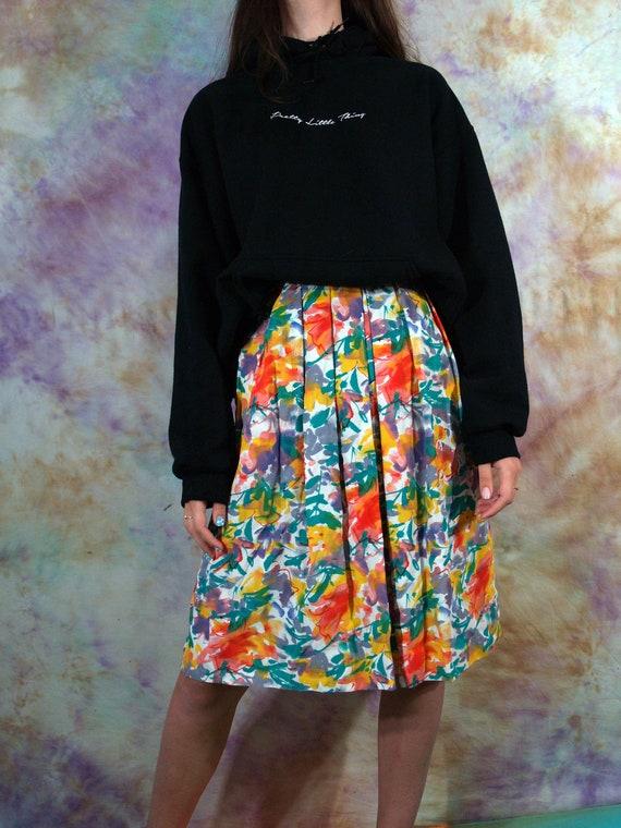 Vintage 70/'s  80/'s Poppy Summer Womens Multicolor Yellow Abstract Retro Boho Long Maxi Skirt