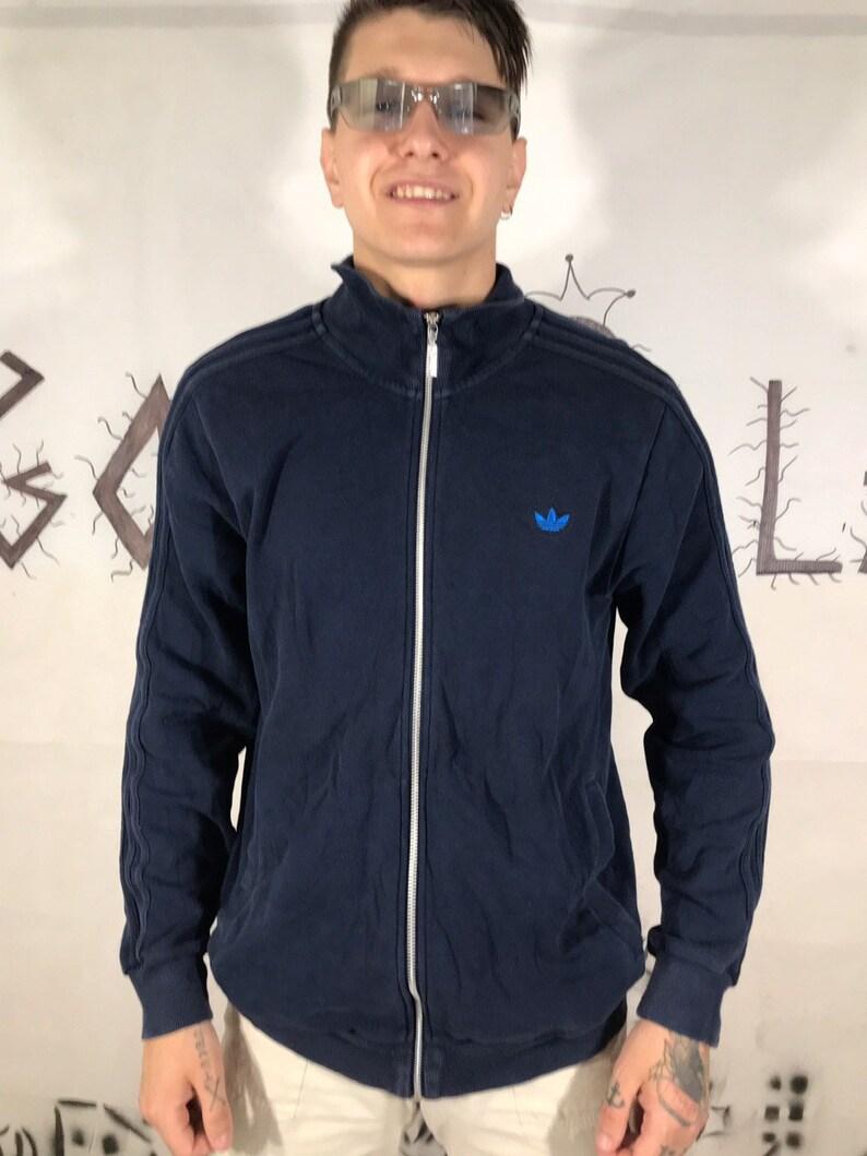 Adidas VIntage Men's Blue Fill Zip Sweatshirt 90s 80s Retro Small logo Stripped casual Sweater Size L Streetwear