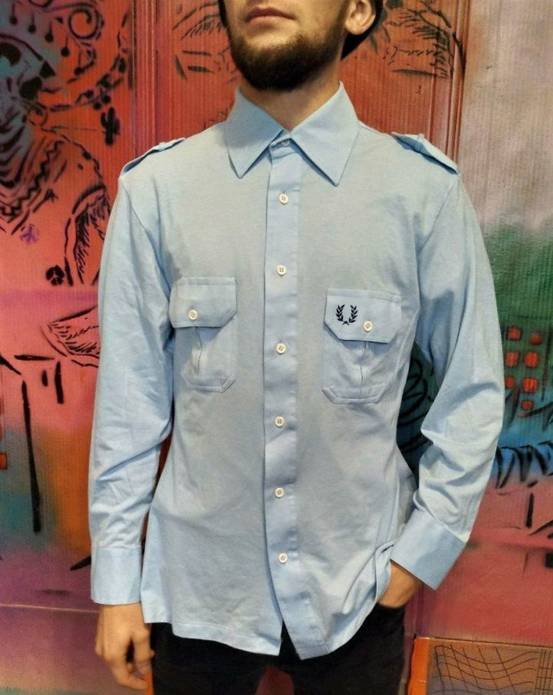 466c462a8 Fred Perry Vintage Mens Womens Unisex Blue Shirt 90s 80s Retro | Etsy