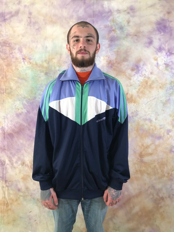 Adidas Vintage Multicolor Track Jacket 90s 80s Retro Full Zip Small Logo Stripped Sweatshirt Size M Rave Jacket Sport Jacket