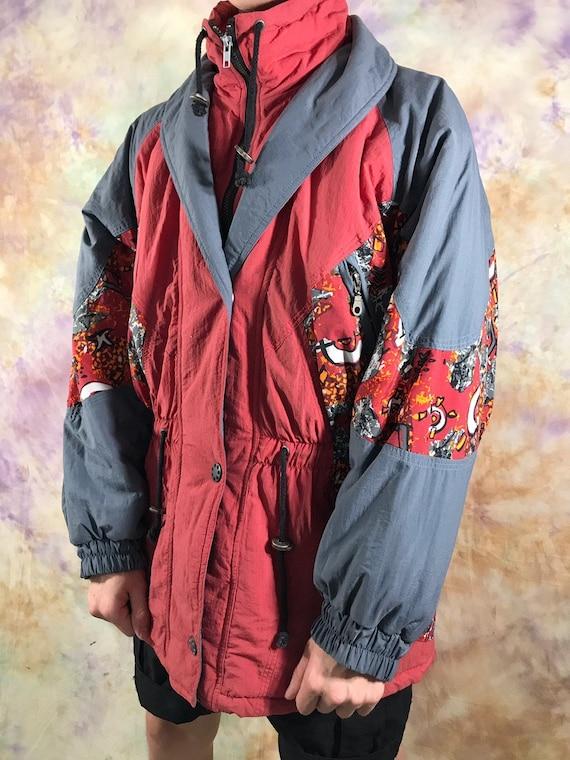 Vintage 80er Jacke amp;a Skijacke Winter Multicolor Rot Schwarz Grau Voller Herren M Streetwear C 90er Retro Rave Winterjacke Jahre Zip Größe TlJcKF1