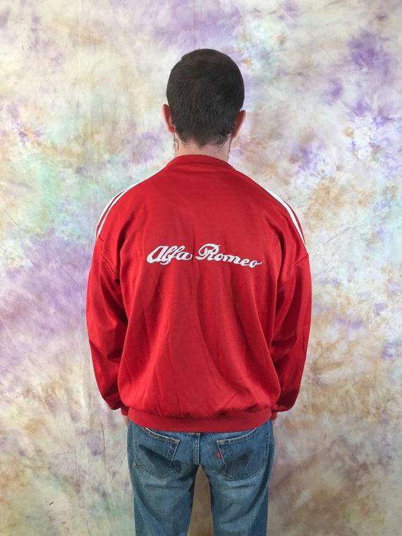 Adidas Vintage Red White Stripped Men's Sweatshirt 90s 80s Retro Big Logo Pullover Alpha Romeo Casual sweater Size M Streetwear