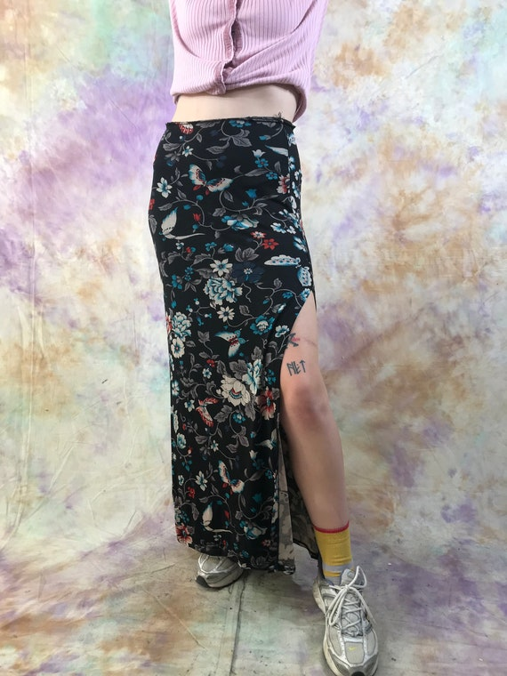 Fashionable floor skirt Long skirt with a slit French style skirt Flowers MORGAN paris Vintage skirt on the floor