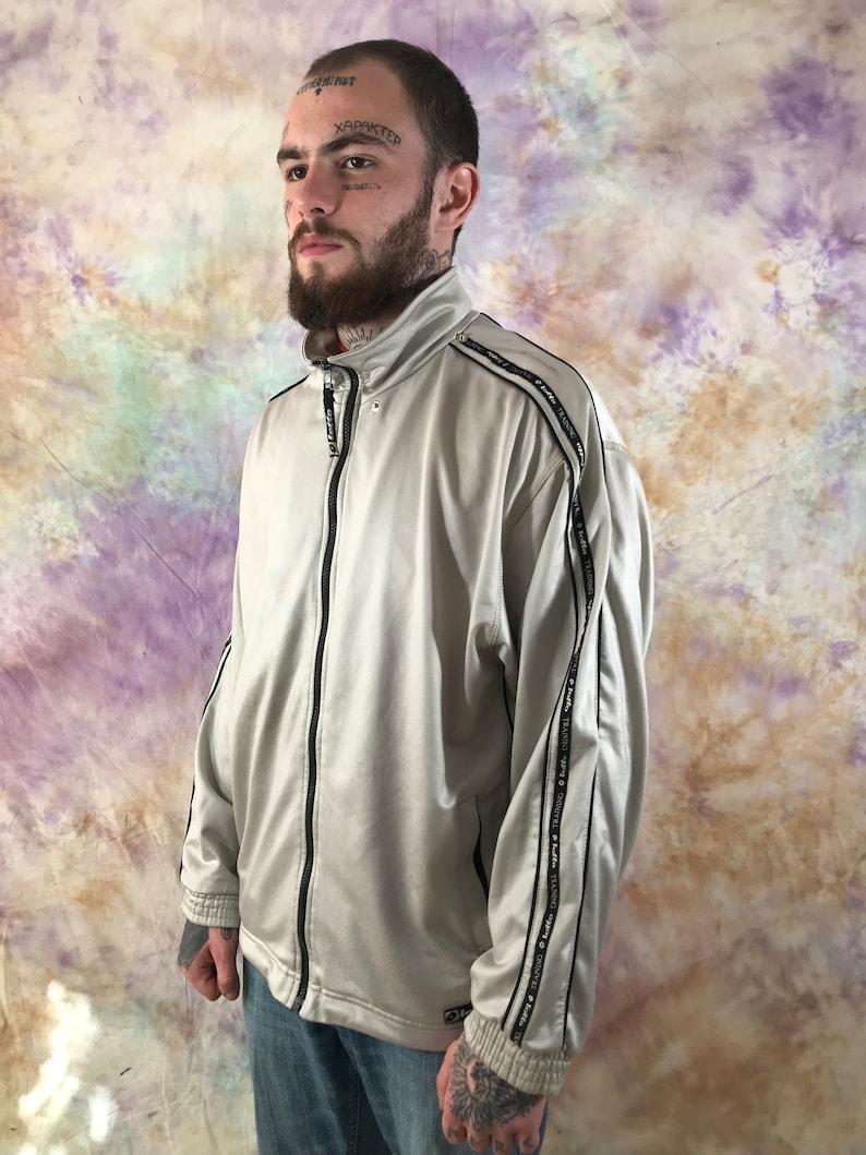Lotto Vintage Men/'s Gray Black Track jacket 90s 80s Retro Full ZIp Side Tape Logo Rave Jacket Track Top Size M