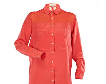 Coral silk shirt with sheer panel