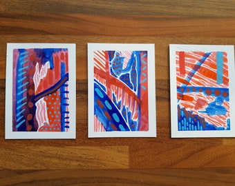 Abstract Artist Trading Cards Original Unique Pieces