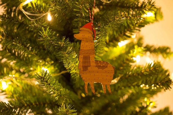 Llama Christmas Tree.Llama Christmas Tree Decoration Family Wood Laser Cut Xmas Decoration Christmas Ornament